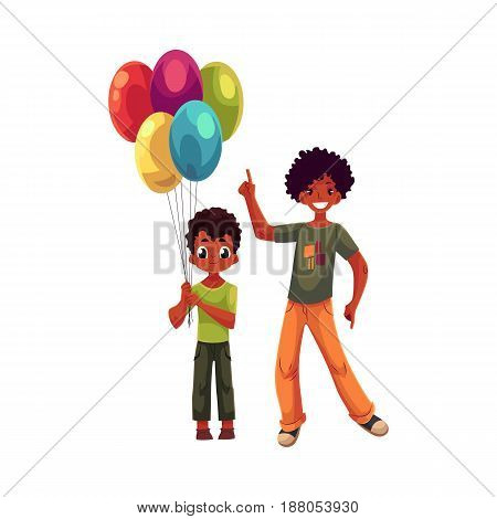 Preschooler and teenage black, African American boys, brothers with balloons, cartoon vector illustration isolated on white background. Two black kids at birthday party, little and teenager