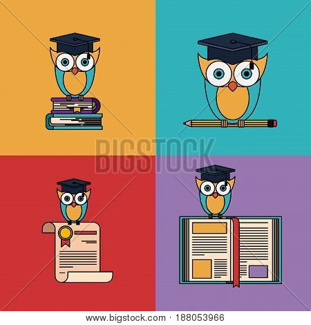 multicolored set background with owl with school and graduation elements vector illustration