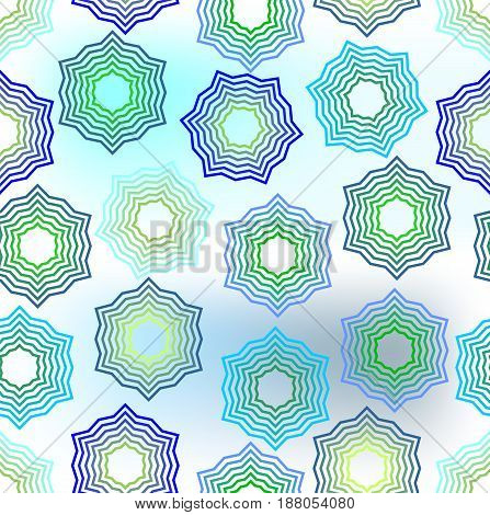 Seamless star background in green and blue fine outline design