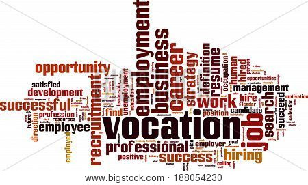 Vocation word cloud concept. Vector illustration on white