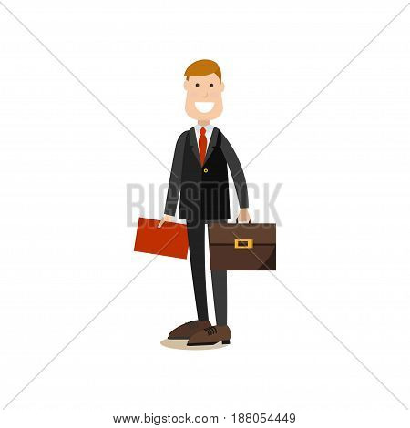 Vector illustration of smiling businessman in suit standing with red folder and briefcase in hands. Office people flat style design element, icon isolated on white background.
