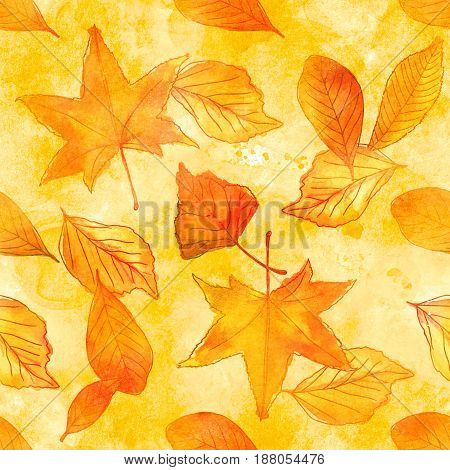 A seamless pattern of watercolor leaves on golden texture. Autumnal wallpaper design