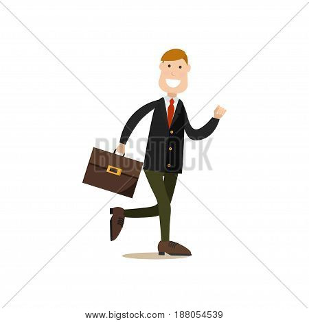 Vector illustration of smiling businessman in suit running with briefcase in hand. Office people flat style design element, icon isolated on white background.
