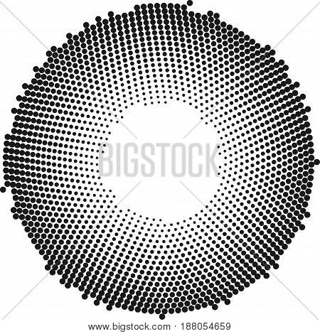 Circle with dots for Design Project. Halftone effect vector illustration. Colorful dots on white background. Black and white Sunburst background. Round frame design template.