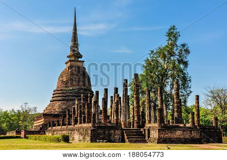 Stupa And Columns In Sukhotai, Thailand