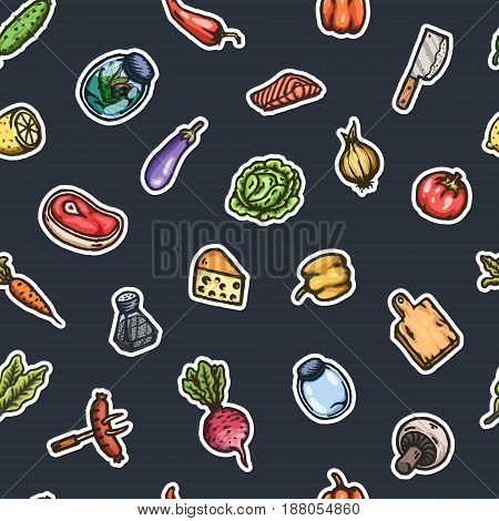 Hand drawn cartoon seamless pattern of food and kitchen stuff. Vector isolated illustrations.