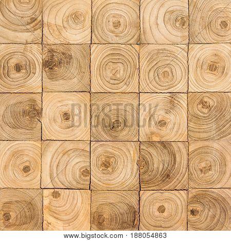 square shape pieces of teak wood stump background