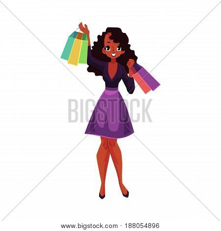 Happy black, African American girl, woman with shopping bags, sale concept, cartoon vector illustration isolated on white background. Black girl, woman with many shopping bags, happy shopping concept