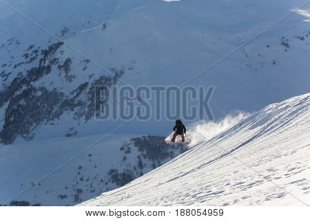 snowboarder snowboarding on fresh white snow with ski on Sunny winter day