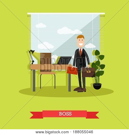 Vector illustration of businessman in private office. Modern office interior. Boss concept design element in flat style.
