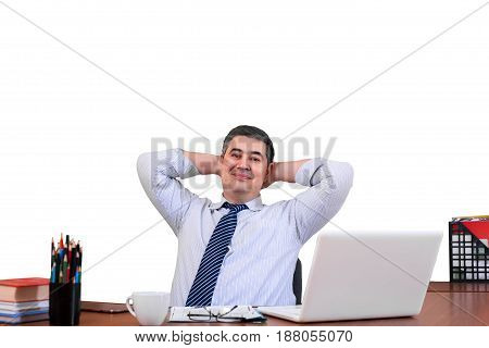 Successful dealer. Successful transaction. He laid his hands behind his head. He leaned back in his chair. Isolated on white.