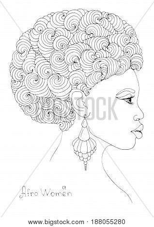 Vector hand drawn line profile portrait of a young African girl with magnificent curly afro hairstyle and volumetric earrings. Coloring page. On a white background