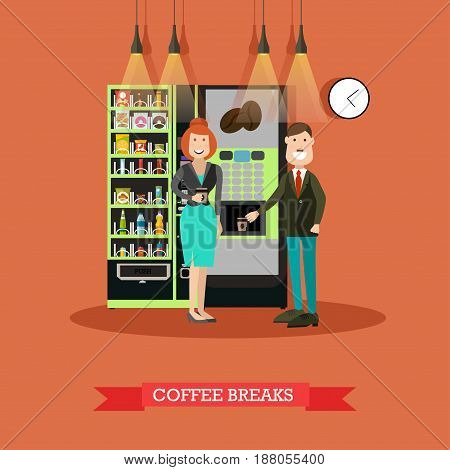 Vector illustration of business people taking coffee break. Male and female standing next to coffee automatic machine and vending or food machine flat style design.
