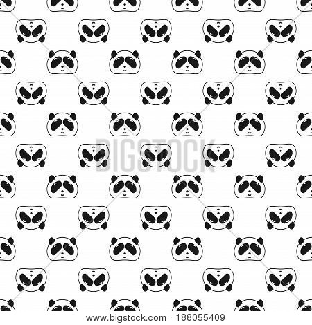 Cute Panda bear seamless pattern black and white background. Vector illustration. Panda head and face. Design for wallpaper and fabric web page background surface textures.
