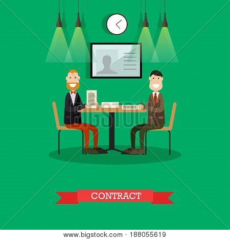 Vector illustration of two businessmen signing agreement. Business partners concluding contract flat style design element.