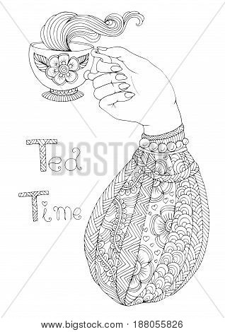 Vector hand drawn elegant lady hand holds a mug with a hot drink tea and enjoys the delicious aroma of steam. Patterned page tea time for coloring book A4 size. Isolated on white background