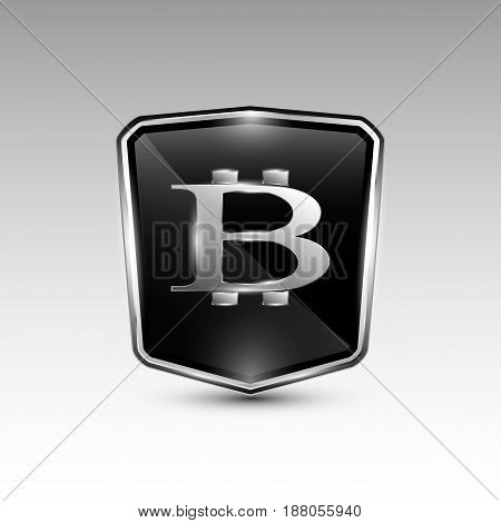 Vector illustration of black colored stylish shield bitcoin cryptocurrency sign.