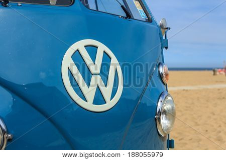 Scheveningen beach the Netherlands - May 21 2017: VW kombi camper wagen at the beach