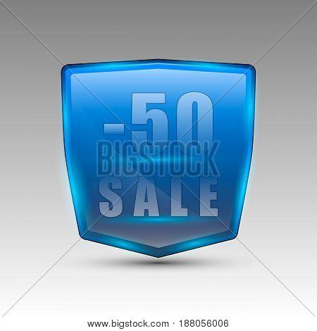 Vector illustration of blue colored -50 sale jeans pocket shaped logo.