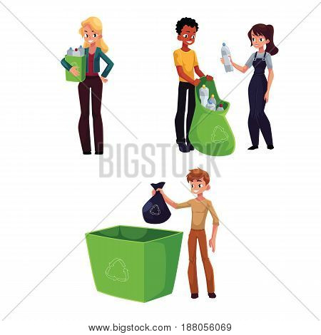 People collecting plastic bottles, waste, garbage recycling concept, cartoon vector illustration isolated on white background. Happy people collecting plastic bottles for recycling