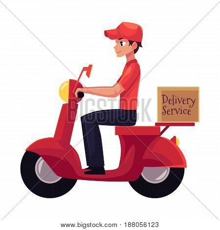 Courier, delivery service worker riding scooter, motorcycle loaded with boxes, cartoon vector illustration isolated on white background. Young courier delivering packages by driving motorbike, scooter