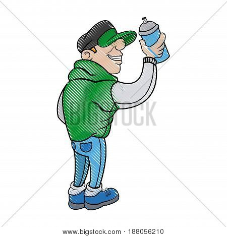 cartoon young guy graffiti with green jacket and spray vector illustration