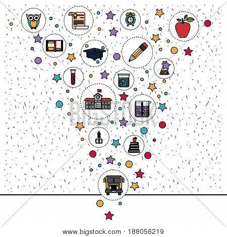 white background with sparkles with education element icons vector illustration