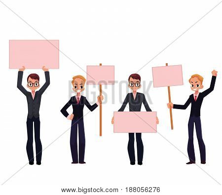 Young men, businessmen in business suits holding empty boards, strike, protest concept, cartoon vector illustration isolated on white background. Businessmen, men with empty boards, signs on strike
