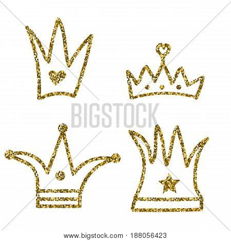 Set of gold crowns. Doodle. Vector illustration. Cartoon.