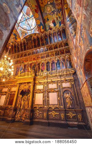Yaroslavl Russia 30 May 2013: Church of the Nativity of Christ. Interior.