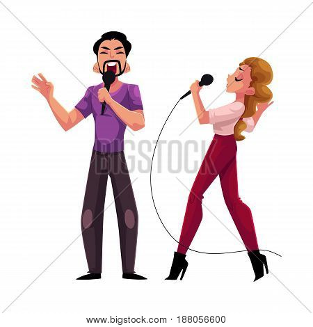 Man and woman, couple singing in duet, karaoke party, contest, competition, cartoon vector illustration isolated on white background. Two karaoke singers, man woman, male female, singing together