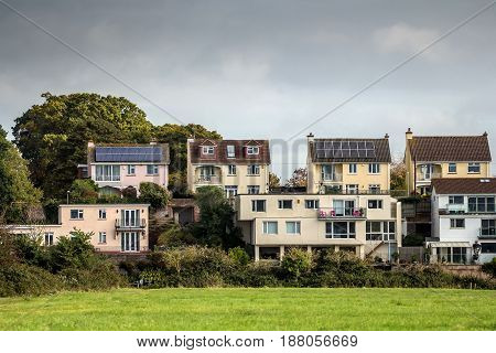Residential houses on the outskirts of the city of Exeter. Devon. England