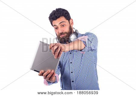 smiling beard yung man listening to music and playing game guy wearing blue shirt isolated on white background