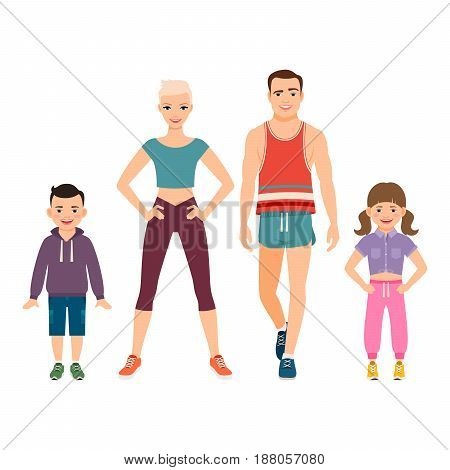 Happy Family In Sport Style Clothes