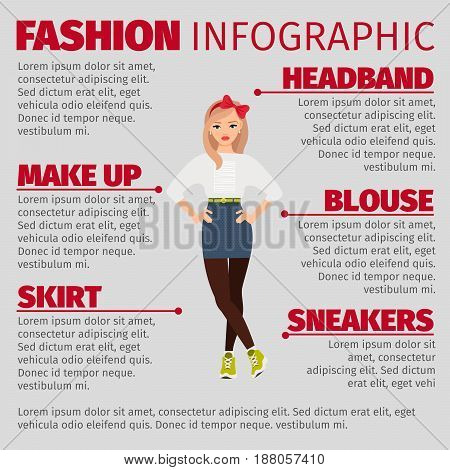 Girl In Casual Style Fashion Infographic