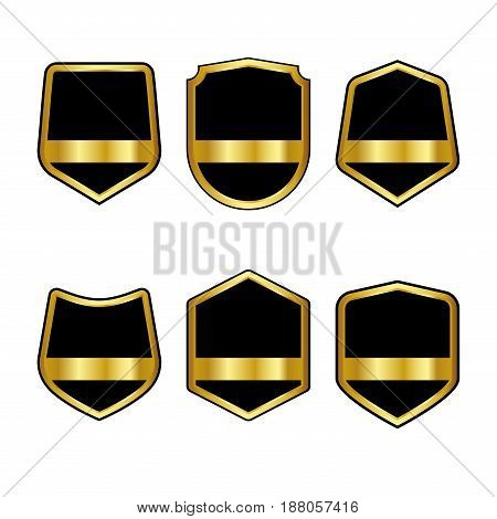 Set Of Black Shields With Golden Ribbons In Trendy Flat Style Isolated On White Background. Herald L