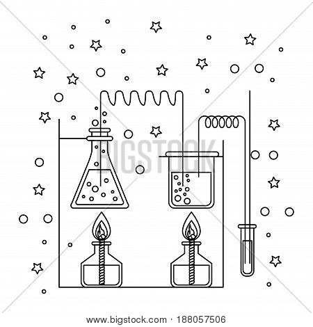 monochrome silhouette scene of chemical laboratory with an experiment in process with stars and dots vector illustration