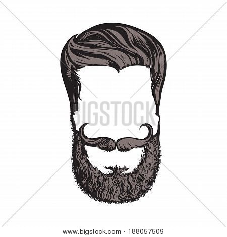 Hand drawn hipster hairstyle, beard and mustache, sketch style vector illustration isolated on white background. Hand drawing of hipster hair, beard and whiskers, logo design poster