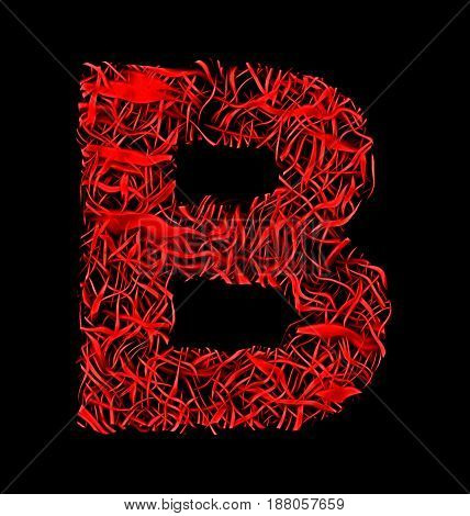 Letter B Red Artistic Fiber Mesh Style Isolated On Black