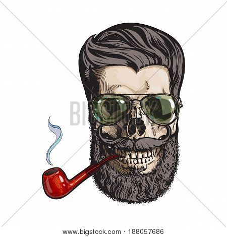 Human skull with hipster beard, wearing aviator sunglasses, smoking pipe, sketch vector illustration isolated on white background. Hand drawing of human skull with hipster hair, beard and whiskers