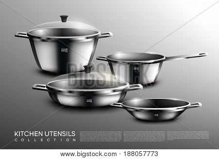 Realistic kitchen cookware set with saucepan pots pan on gray background isolated vector illustration