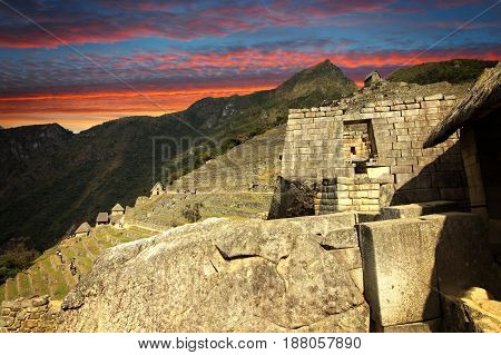 The Inca city of Machu Picchu in Peru