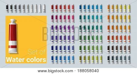 Set of water color tubes , vector , illustration