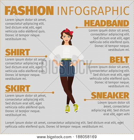 Fashion Infographic With Young Girl