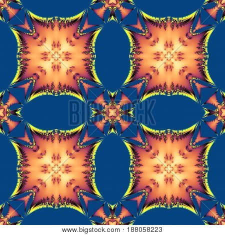 Abstract seamless fractal pattern with scalloped structure and torn squares. Brown, orange, yellow and red fractal  pattern on a blue background. 3d rendering