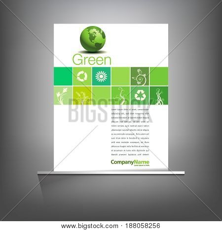 Green environmental page template on a gray background