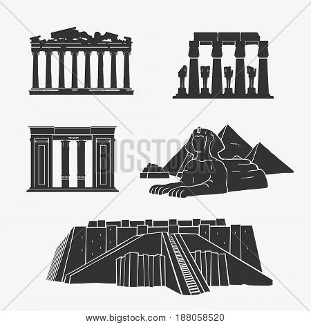 Egyptian Ancient Architecture Vector Illustration Set eps 8 file format