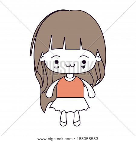 silhouette color sections and light brown hair of kawaii little girl with long hair and facial expression exhausted vector illustration