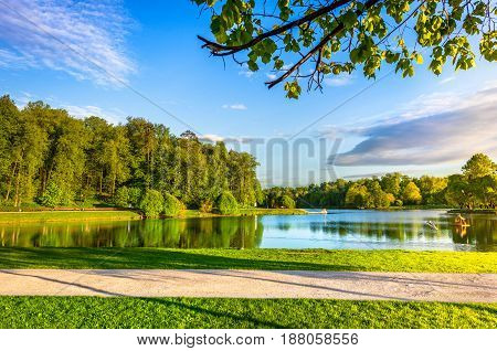 Big Pond Tsaritsyno in Moscow, Russia. Sunset. Panorama with lake and island.