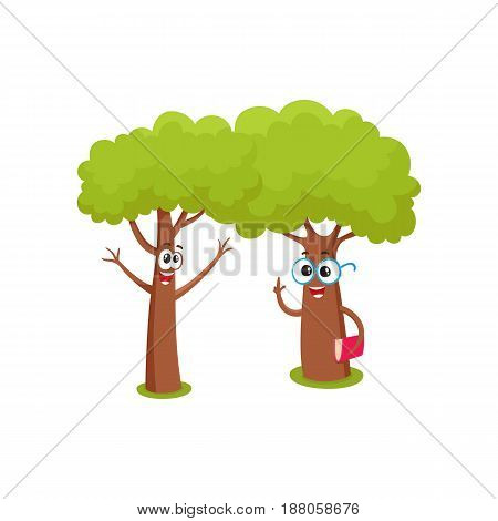 Two funny tree characters, one in round glasses holding book, another throwing up branches as hands, cartoon vector illustration isolated on white background. Couple of funny tree characters, mascots